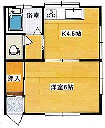 コーポ平成[1階]の間取り