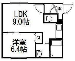 北海道札幌市西区発寒十一条3丁目の賃貸マンションの間取り