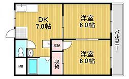 尾崎ハイツ 1階2DKの間取り