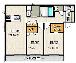 荒牧新築アパート[201号室]の間取り