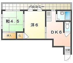 オオバハイツ 2階2DKの間取り