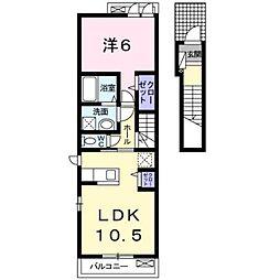 伊予鉄道横河原線 いよ立花駅 バス16分 高尾田下車 徒歩8分の賃貸アパート 2階1LDKの間取り