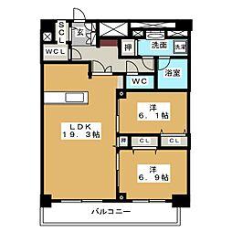 ロイジェント新栄IV[12階]の間取り