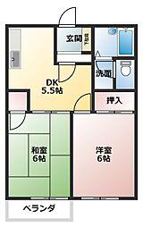 静岡県沼津市柳沢の賃貸アパートの間取り