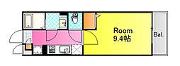 JR山陽本線 広島駅 徒歩11分の賃貸マンション 2階1Kの間取り