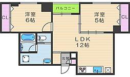 シャトー鶴ヶ丘[6階]の間取り