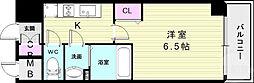 プレサンス神戸キュリオ 6階1Kの間取り