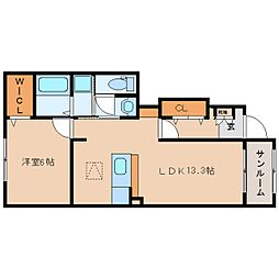 奈良県香芝市今泉の賃貸アパートの間取り