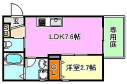 兵庫県神戸市須磨区東町2丁目の賃貸アパートの間取り