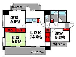 メリーライト箱崎[5階]の間取り