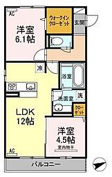 広島県福山市曙町2丁目の賃貸アパートの間取り