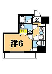 LUXENA東品川 3階1Kの間取り