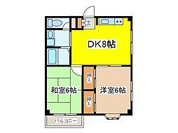 クワァドーロ・フォルテッツァ・ディ・アイ[2階]の間取り