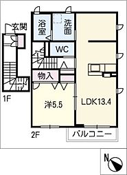 エクセレントSAIKI D棟[2階]の間取り