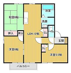静岡県浜松市中区幸3丁目の賃貸アパートの間取り