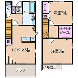[テラスハウス] 神奈川県横浜市港北区大曽根台 の賃貸【/】の間取り