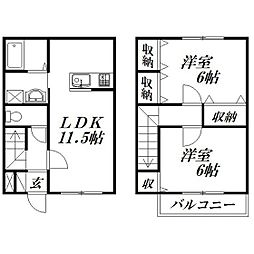 静岡県浜松市中区幸1丁目の賃貸アパートの間取り
