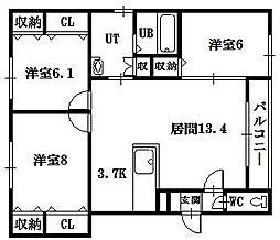 3条西ハイム 3階3LDKの間取り