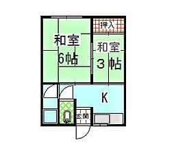 山本文化[203号室]の間取り