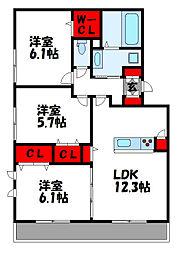 ウェーバーS 2階3LDKの間取り