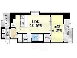 スプランディッド新大阪5 3階1LDKの間取り