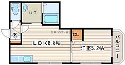 ウィングキャッスル 3階1LDKの間取り