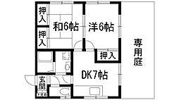 兵庫県宝塚市野上3丁目の賃貸アパートの間取り