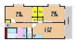 岡山県岡山市北区中仙道1丁目の賃貸マンションの間取り