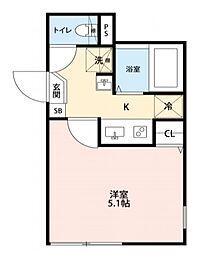 東京メトロ日比谷線 北千住駅 徒歩8分の賃貸アパート 1階1Kの間取り