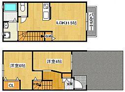 [タウンハウス] 大阪府大阪市鶴見区緑2丁目 の賃貸【/】の間取り