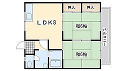 福岡県北九州市門司区藤松2丁目の賃貸アパートの間取り