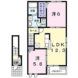 長野県長野市里島の賃貸アパートの間取り