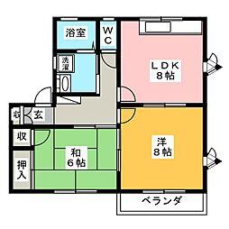 エトワールナカムラA[1階]の間取り