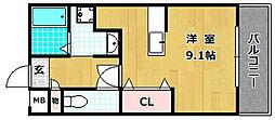 シャンテー中宮III[5階]の間取り