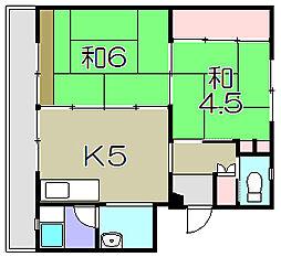 ビレッジハウス五個荘1号棟[1階]の間取り