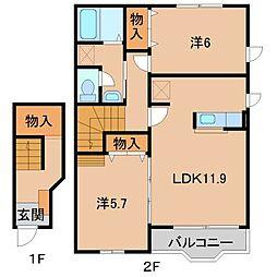 和歌山県橋本市しらさぎ台の賃貸マンションの間取り