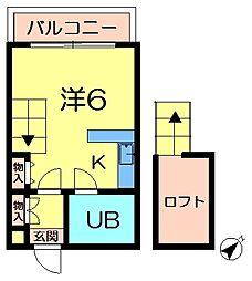 リバーヒル帝塚山[3階]の間取り