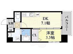 阪急京都本線 正雀駅 徒歩5分の賃貸マンション 3階1DKの間取り