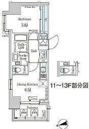東京メトロ東西線 門前仲町駅 徒歩5分の賃貸マンション 4階1DKの間取り