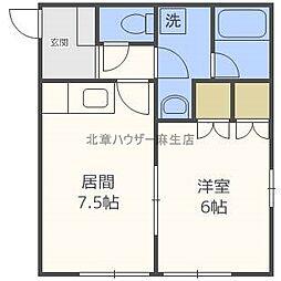 北海道札幌市北区篠路九条4丁目の賃貸アパートの間取り