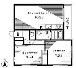 西武池袋線 椎名町駅 徒歩3分の賃貸マンション 4階2LDKの間取り
