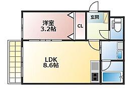 西鉄天神大牟田線 花畑駅 徒歩6分の賃貸アパート 1階1LDKの間取り