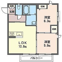 レフィシア[1階]の間取り