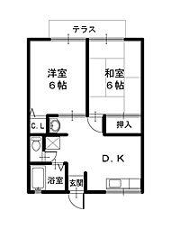 兵庫県豊岡市滝の賃貸アパートの間取り
