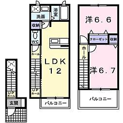 大阪府東大阪市衣摺3丁目の賃貸アパートの間取り