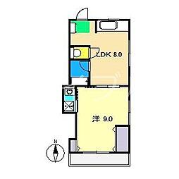 中比島ハイツ[3階]の間取り