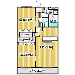 愛知県名古屋市中川区吉津3丁目の賃貸マンションの間取り
