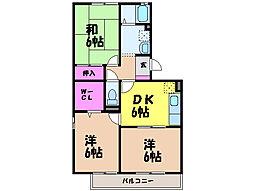 愛媛県松山市立花3丁目の賃貸アパートの間取り