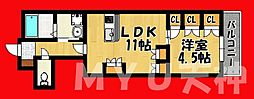 福岡県福岡市中央区薬院3丁目の賃貸マンションの間取り