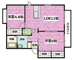 広島県安芸郡熊野町呉地1丁目の賃貸アパートの間取り